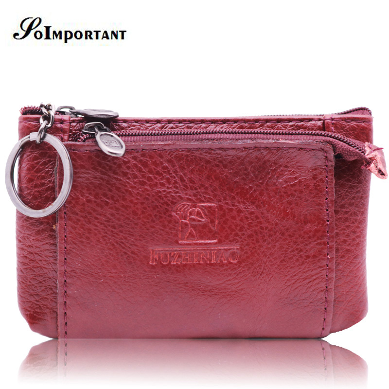 Fashion Mini Wallet Female Genuine Leather Women Wallets Coin Purse Card Holder Small Magic Walet Zipper Money Bag With Key Ring