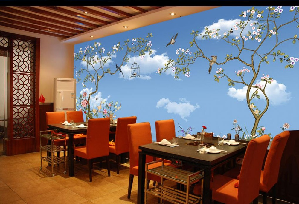 Пользовательские 3d обои голубое небо и белые облака Дерево Птица индивидуальные обои для росписи стен 3d обои - 4