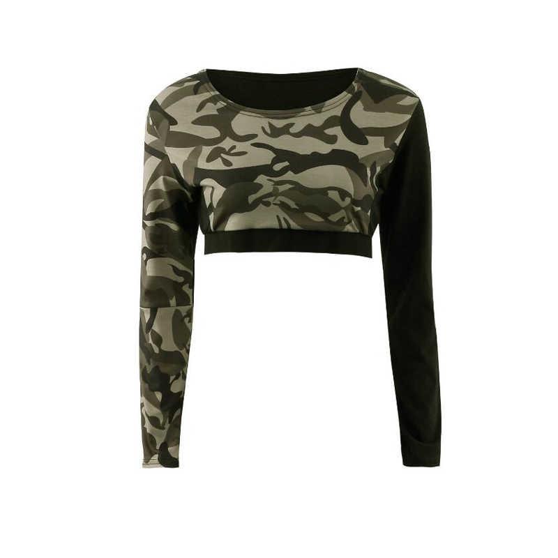 トラックスーツ女性のファッション迷彩プリントスポーツスーツ長袖 O ネック半袖トップ + 弾性ハイウエスト鉛筆のズボン