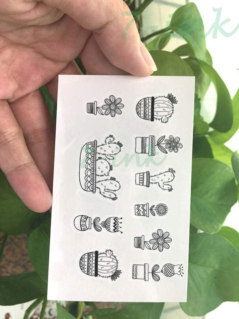 0885490f2 Water Transfer fake tattoocute cactus flower Potted plants Waterproof  Temporary Tattoo flash tattoo for woman man