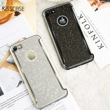 KISSCASE Rhinestone Case For iPhone 6S 6 7 8 Plus Cases Glitter Luxury Bling Silicone Shell For iPhone 5S 5 5E Back Cover Coque(China)
