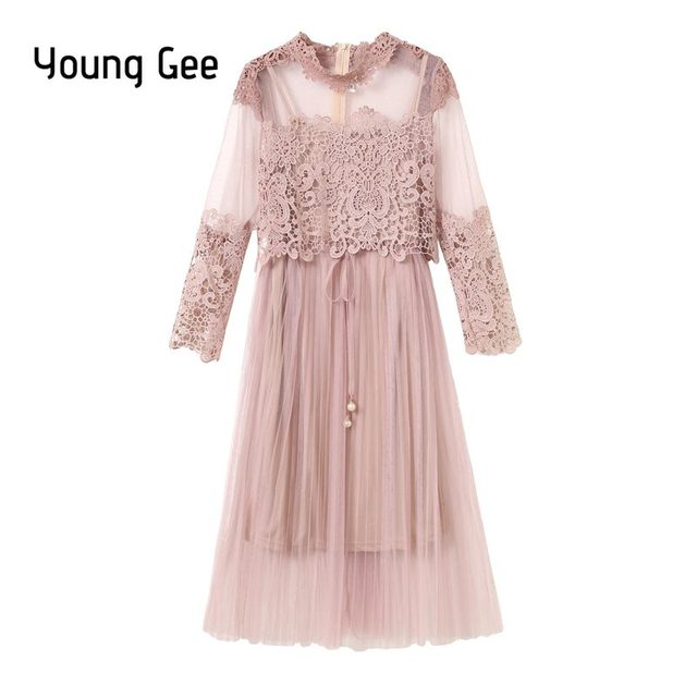 Young Gee Autumn Female Sweet Gauze Lace Floral Pressure Long Sleeve Pleated Dress Women High Waist Slim Full Dresses Two Piece