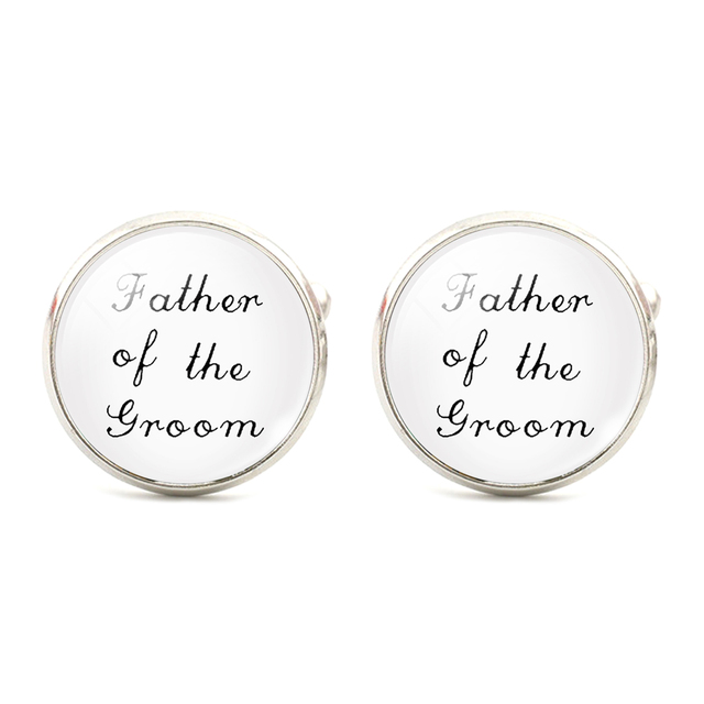 Wedding Shirt Cuff Links Father Bride White Glass Silver Color Jewelry