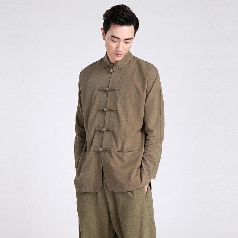 Summer New Green Chinese Traditional Men s Mandarin Collar Solid Linen Long Sleeve Kung Fu Shirt