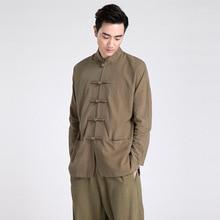Sommer Neue Grün Traditionellen Chinesischen herren Stehkragen Feste Leinen Langarm Kung-fu-shirt Mantel M L XL XXL XXXL 2601