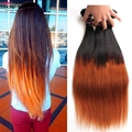 Ombre Malaysian Virgin Hair Straight 3Pcs Lot Two Tone Ombre Malaysian Hair Bundles Human Hair Weave Malaysian Straight Hair