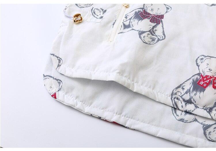 Blanc Design Imprimé Manteaux Outwear Style Mignon Ours Chaud À Preppy Nouveau Épais Femmes Capuche Parka Hiver Doux TxaqZnR