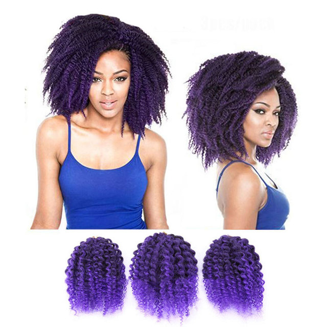 3 Pieces Ombre Colored Braid Hair Extensions Ombre Black And Purple