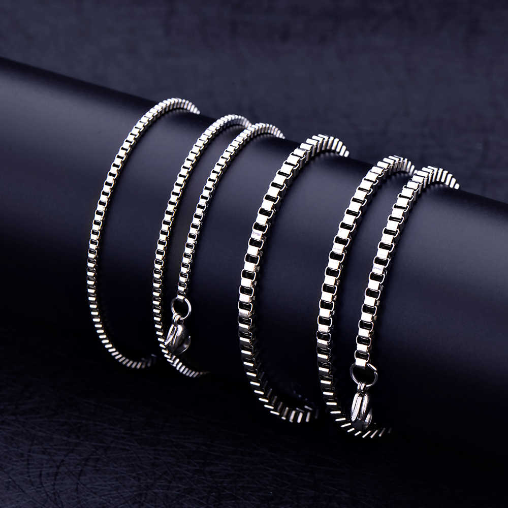 Wholesale low price stainless steel 2MM 3MM box chain necklace fashion unisex jewelry Fit pendant 18-28inches drop shipping