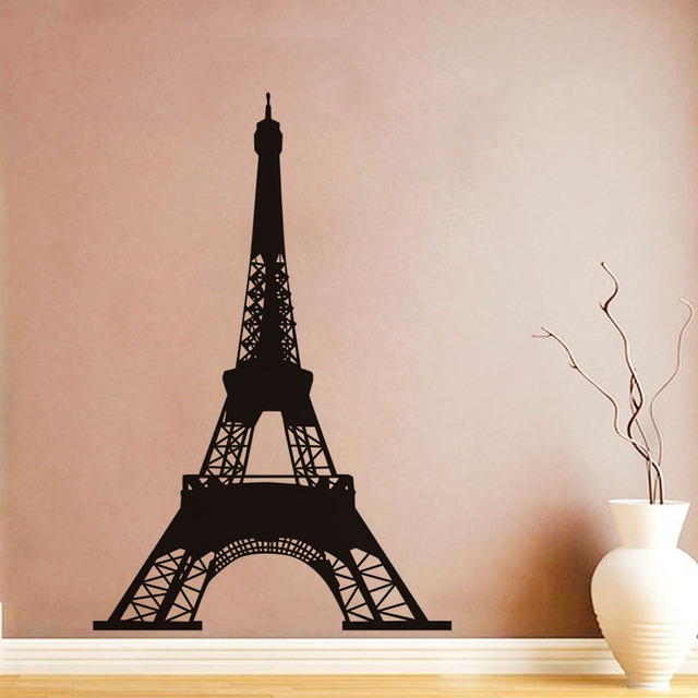 DCTOP Romantic Art Design PVC Wall Stickers Eiffel Tower Paris Wall Decals  Removable Murals For Living