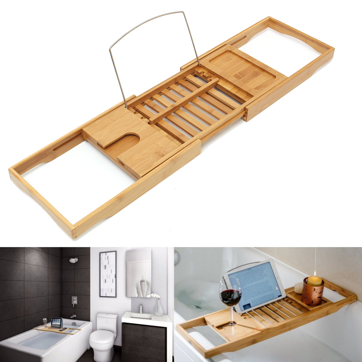 Bathroom Shelf Bamboo Bathtub Tray Shower Caddy Shelf Storage Bath ...