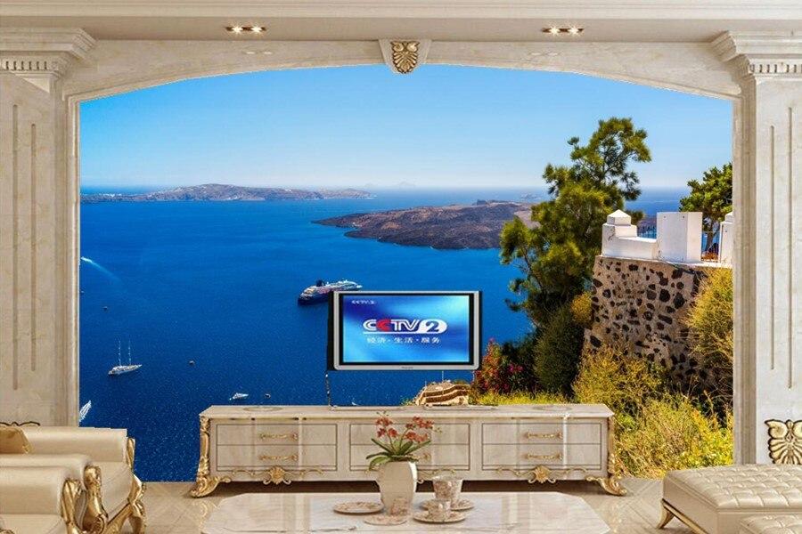 Custom large murals,Greece Sea Coast Scenery Nature wallpapers,restaurant hotel living room tv sofa wall bedroom papel de parede