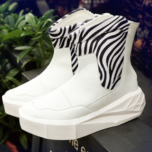2016  Men 5cm Owen Height Increasing Platform Boots Back Zip Leather Shoes Male Mixed Colors n High Top Black White Men's Boots