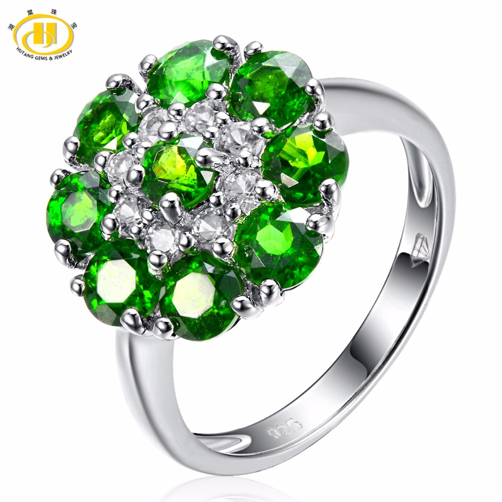 Hutang 2.29ct Natural Gemstone Chrome Diopside Solid 925 Sterling Silver Ring Fine Jewelry For Women's Gift hutang natural gemstone chrome diopside 925 sterling silver flower ring for women new fine jewelry presents gift 2018