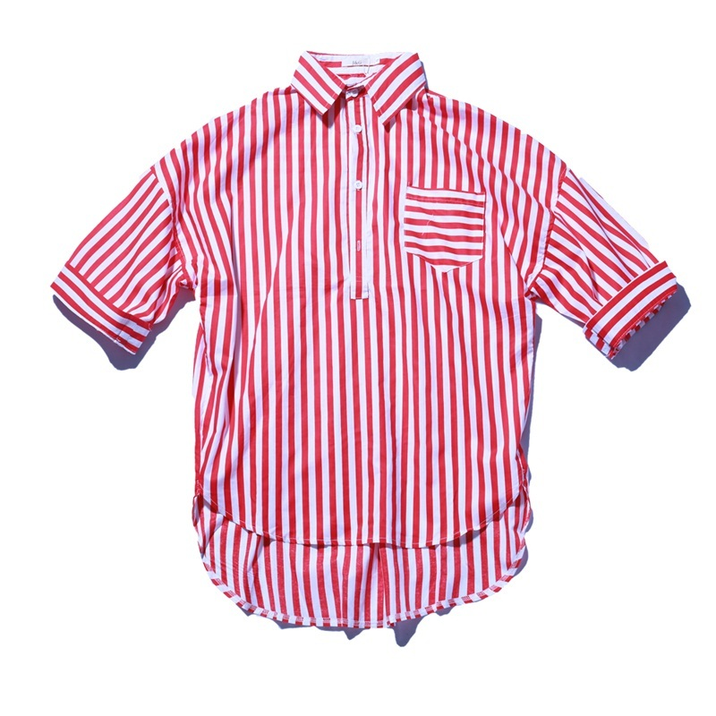 Summer Long Fund Stripe Pullover Seven Part Sleeve Shirt personality city boy casual wild popular Favourite Fashion Recommend