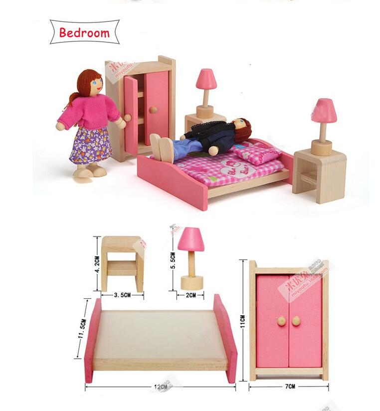 Бесплатная доставка 2016 Детская Забавная детская симулировать роль деревянная игрушка кукольный домик Спальня миниатюрный Мебель