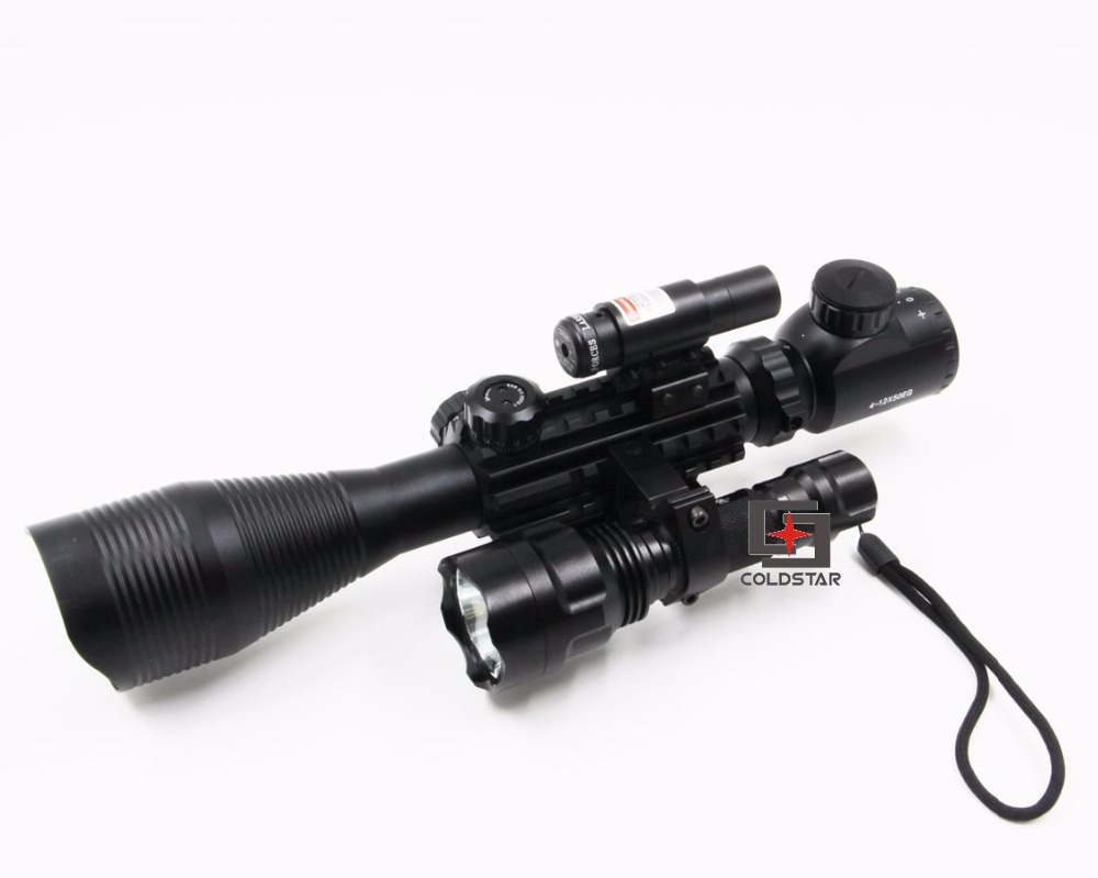 Airsoft Compact Combo C4-12x50EG Rifle Scope w/ Laser Sight &  T6 LED Hunting Flashlight C8 Torch Flash Light For Shooting Gun xl nxf rg 5mw green laser gun sight w weaver mount led flashlight black 3 x cr 1 3n