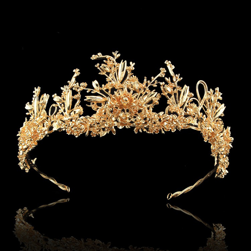 Golden Bough Vintage Hoop Bridal Hairband Headdress Married Crown Tiara Golden Wedding Hair Accessories Bride Headpiece Jewelry 1 set gift cute princess crown hairpin hairband girls kids hair head hoop clips bows accessories for children barrette headdress