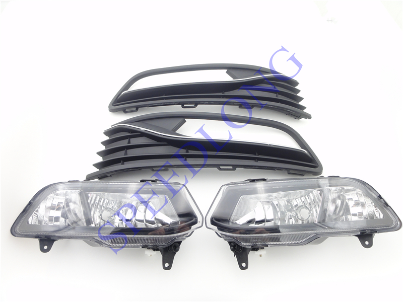 1 Set RH and LH front fog lights assembly and bumper lamp covers kits for VW Volkswagen POLO 2014-2016 HATCHBACK 2 pcs pair rh and lh front foglights bumper fog lamps without bulbs for vw volkswagen polo 2014 2016 hatchback