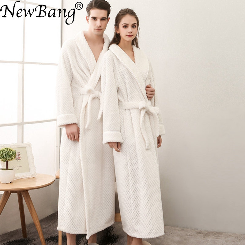 NewBang Brand Lovers Bathrobe Winter Extra Long Knitted Waffle Flannel Coral Fleece Bath Robe Thicken Nightgown Plus Home Wear