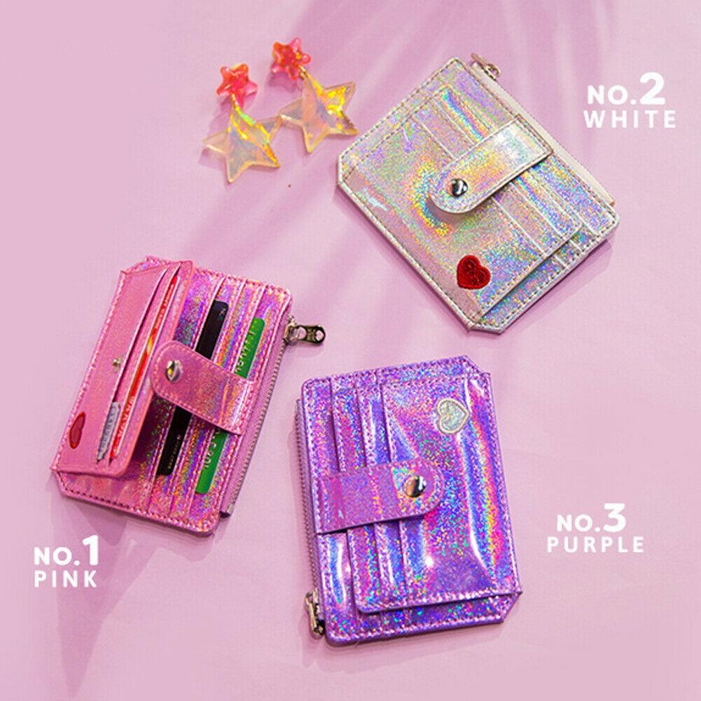 Laser Shining Card Bag Girls Driver/'s license bag ID Credit Card Holder Case
