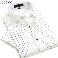 JeeToo Brand Mens Shirts Short Sleeve 2017 White Mens Dress Shirts Slim Fit Men Formal Shirt