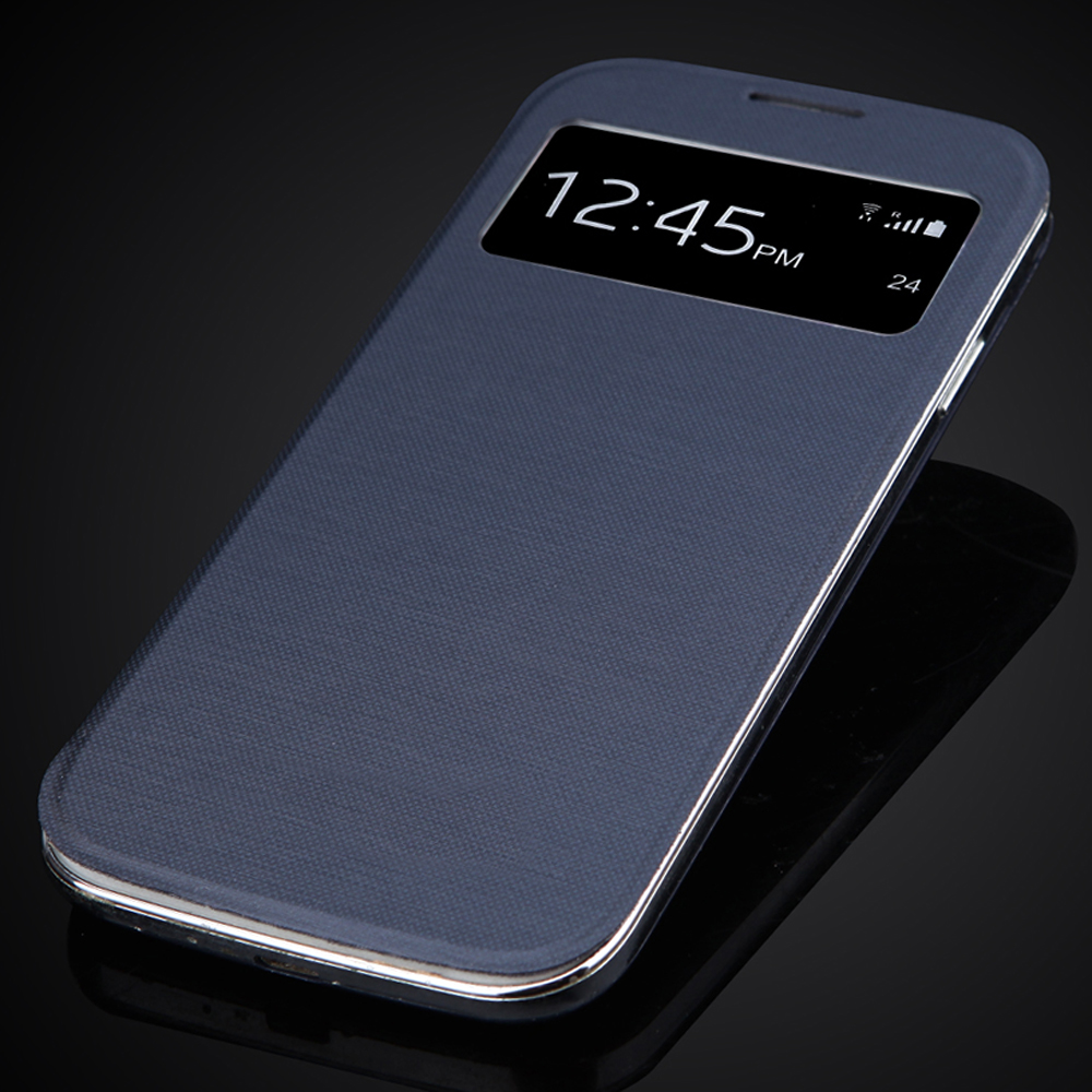 <font><b>S4</b></font> View Window Flip Cellphone Case For Samsung Galaxy <font><b>S4</b></font> SIV i9500 Back <font><b>Battery</b></font> Housing <font><b>Cover</b></font> With Auto Sleep