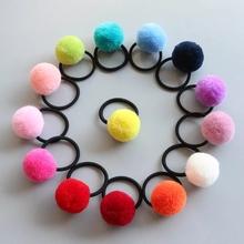 16 sztuk (8 par) kolorowe pom kulki elastyczne włosy więzi dziewcząt kucyk Holder dzieci opaski do włosów akcesoria PC132 tanie tanio Headwear Poliester Dziewczyny Moda Stałe Elastic Hair Bands