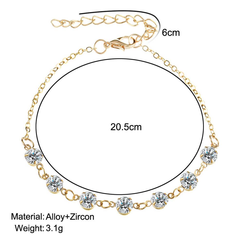 17 KM Vintage Moda Kristal Halhal Kadınlar Link Çene Bohemian Altın Gümüş Renk Ayakkabı Çizme Zinciri Bilezik ayak takısı 2017