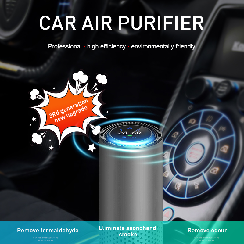 GIAHOL Air Purifier with HEPA Filter Fresh Air Anion Car Air Purifier Infrared Sensor Air Cleaner best for Car Home Office Gray