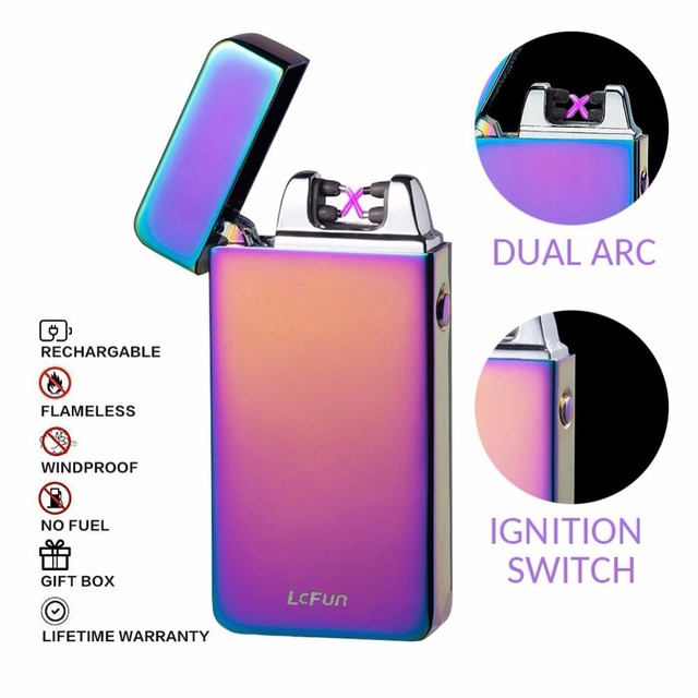 Electronic Cigarette Lighter Pulsed Double Arc Windproof USB Lighter Rechargeable Flameless Electric Smoking Lighter Plasma