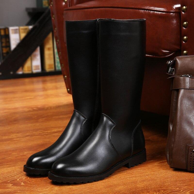 ERRFC ฤดูหนาวใหม่สีดำยาวรองเท้าบู๊ตสำหรับผู้ชายสั้นซิปขี่รองเท้า 33 ซม. Man เข่ารถจักรยานยนต์ boot 37 46 บน   2