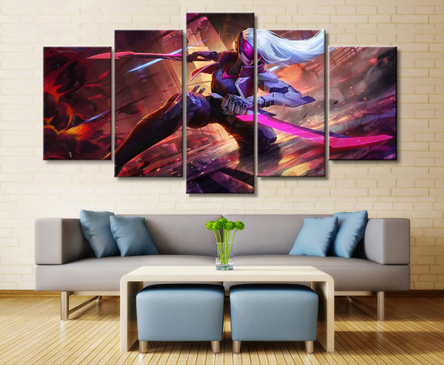 5 Panel LOL League of Legends Katarina Game Canvas Printed Painting For Living Room Wall Art Decor HD Picture Artworks Poster 1