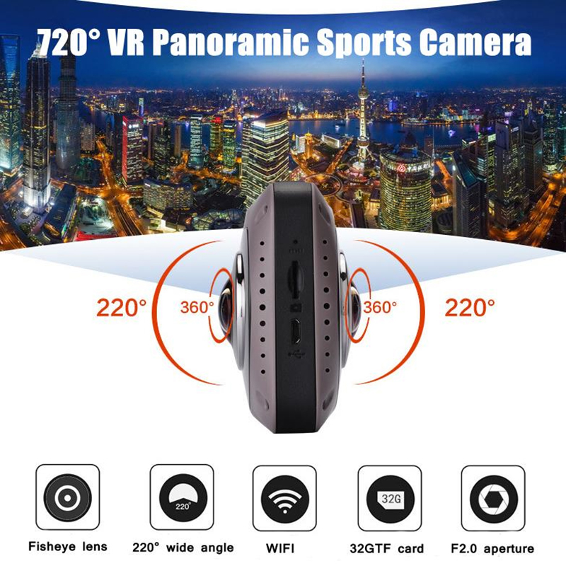 Outdoor Sports Camera 360 Panoramic VR Video Recorder Mini WiFi Action Sports DV Double Sided Fish Eyes Lens Gravity Sensor Cam free shipping 2017 newest mini wifi sports camera r360 220degree eyefish lens