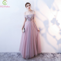 SSYFashion new banquet elegant long evening dress boat neck a line floor length lace appliques beading party formal gowns custom
