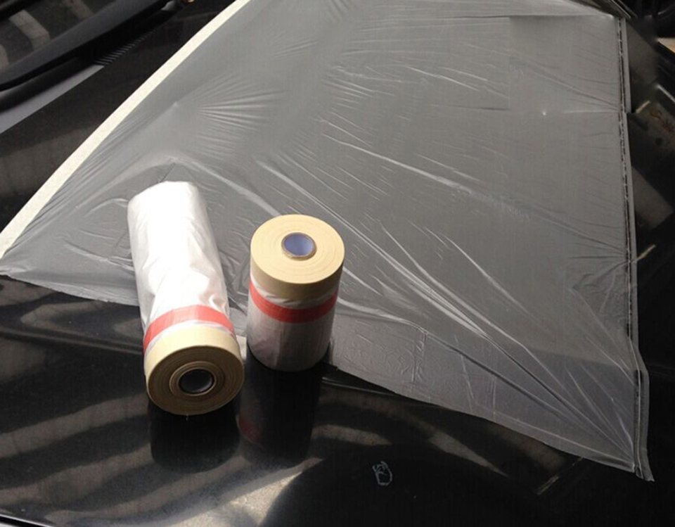 11x25m pre taped plastic drop cloth masking film spray paint protection film for car paintplasti dip masking mx 107win car stickers from automobiles
