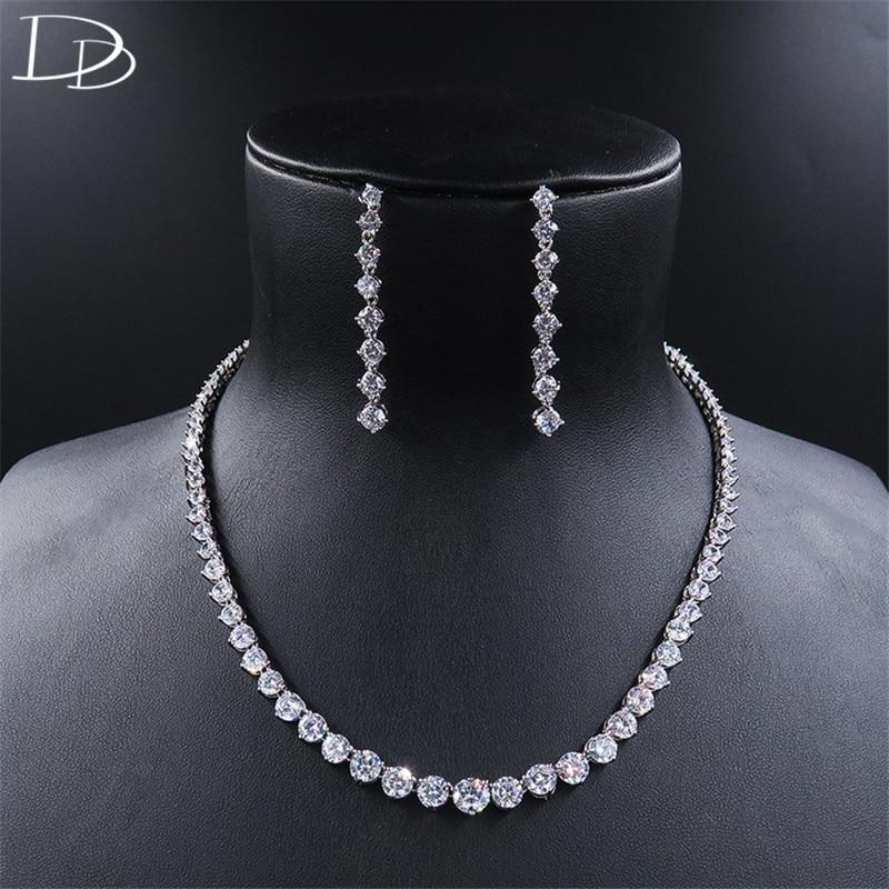 DODO élégant dames ensembles de bijoux classe tous AAA cubique Zircon colliers longues boucles d'oreilles ensemble pour les femmes de haute qualité Pave D15235