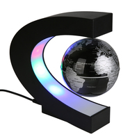 2017 New Novelty C Shape Magnetic 3 Inches Floating Globe Table Lamps With Colorful LED Lights