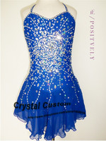 Bright Blue Figure Skating Competition Dress With Shining Crystals New Brand Ice Skating Dress For Children DR3144