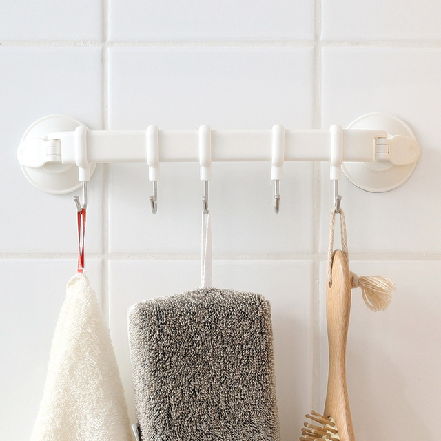 Hook Rack Double Suction Cup Towel Rack Hanging Shelves Hook Holders Lock  Type Sucker Hook Storage