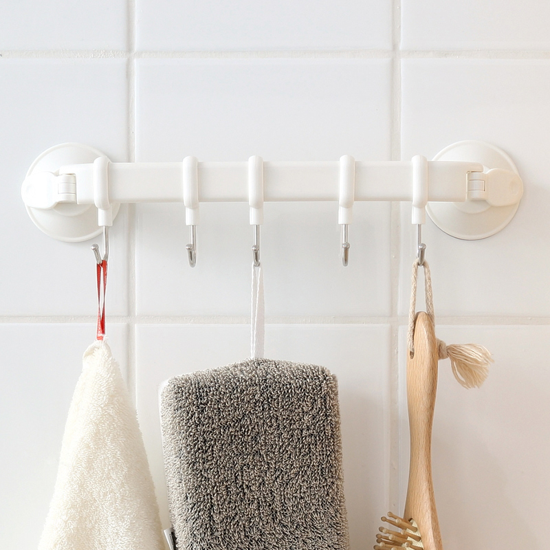 Hook Rack Double Suction Cup Towel Rack Hanging Shelves Hook Holders Lock Type Sucker Hook Storage Towel Holder Organizer Shelf