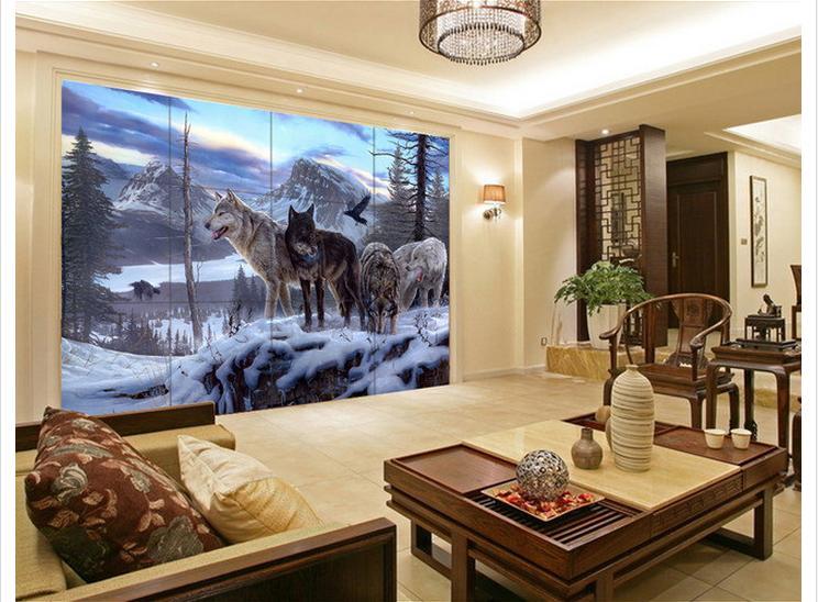 3d фото обои на заказ 3D настенные фрески обои Снег Волк ТВ установка стены обои