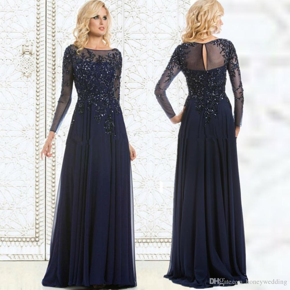 f2f24dce7eea Modest Navy Blue Plus Size Dresses Evening Wear Long Sleeves Appliques  Sequin Chiffon Mother Of The Bride Dress For Wedding Part