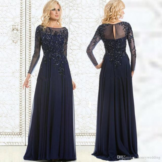 Modest Navy Blue Plus Size Dresses Evening Wear Long Sleeves ...