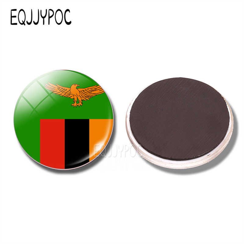 Zambia Flag 30 MM Fridge Magnet Lusaka Ndola Kabwe Kitwe-Nkana Glass Dome  Magnetic Refrigerator Stickers Note Holder Home Decor