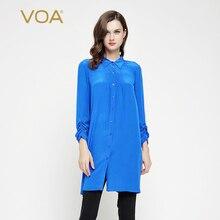 VOA Blue Color Nine Quarter Sleeve Blouse Women Hem Split Silk Crepe Fabric Lapel Shirts B7096