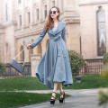 2017 Spqing and Autumn New Fashion Solid Color Turn-down Collar Female Outwear Long Sleeve Slim Ultra Women's Trench Coats