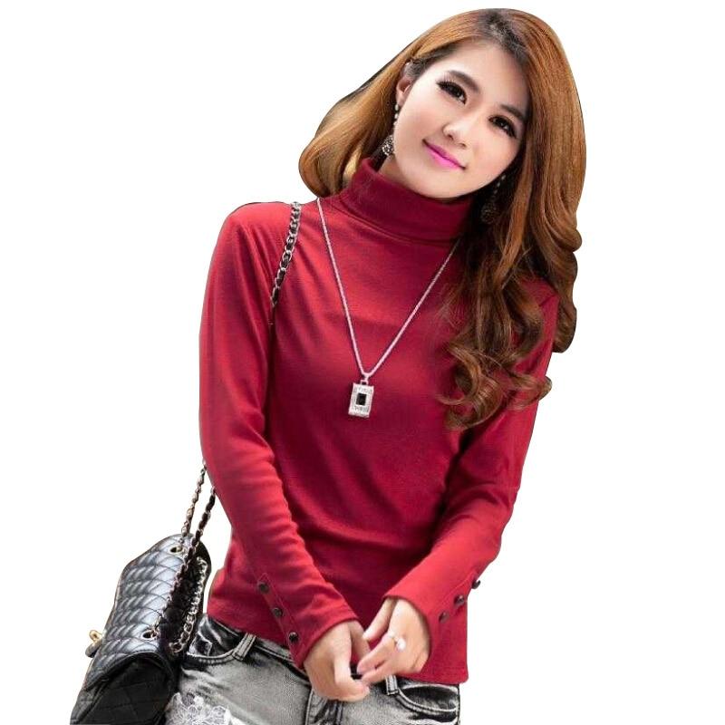 2017 Blusas Femininas Fashion Women's Clothing Blouses Shirts Solid High Collar Turtleneck Long Sleeve Cotton Tops Tee Clothes