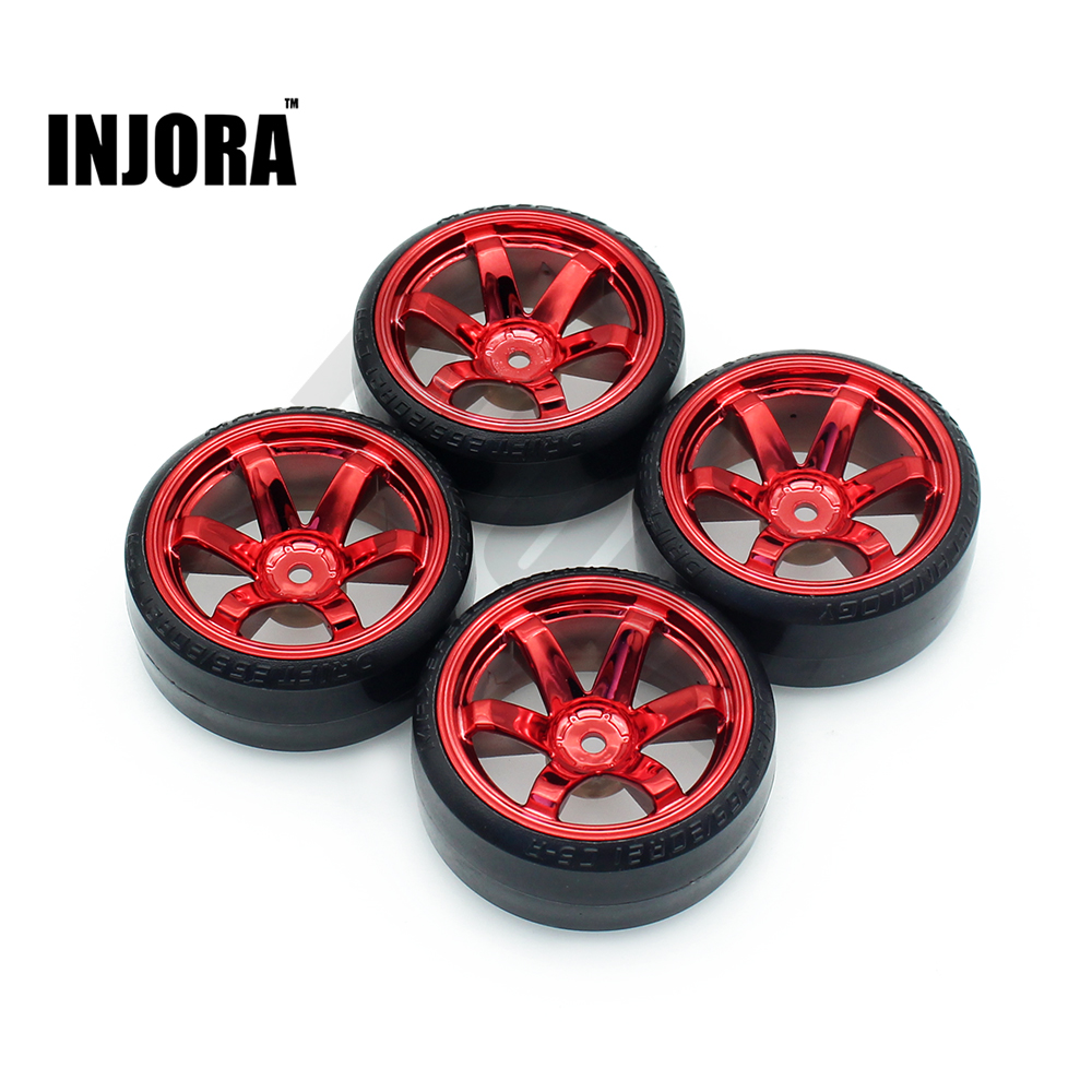 INJORA 4Pcs 1/10 Drift Car Tires Hard Tyre for Traxxas Tamiya HPI Kyosho On-Road Drifting Car Spare Parts ...