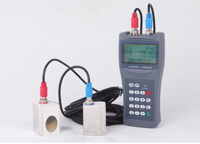 US $581 4 5% OFF|The Aluminium Material 1% Accuracy Pipe Size Flow Sensor  and LCD Display Ultrasonic flow meter for water-in Flow Meters from Tools  on